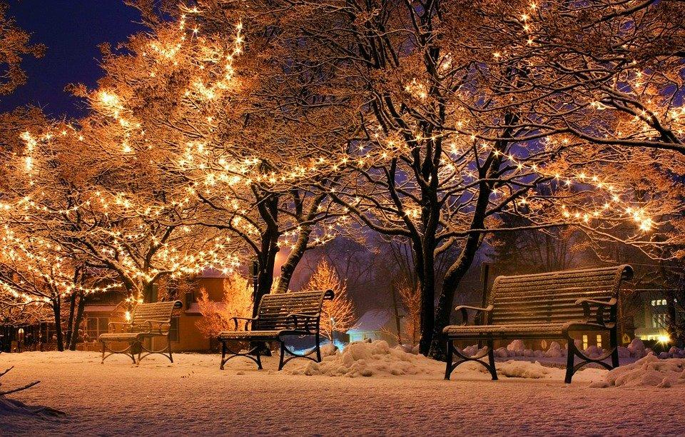 La sera d'inverno durante il Natale
